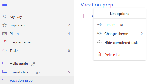 Mais opções de lista