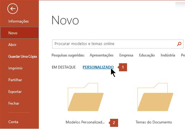 Em ficheiro > novo, clique em Personalizar e, em seguida, personalizar modelos do Office.