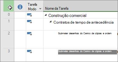 Captura de tela a mostrar o cursor no canto superior esquerdo da vista de Gráfico Gantt do Project