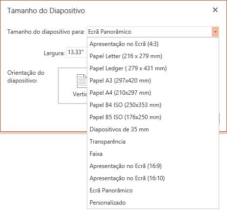 Opções de tamanho do diapositivo no PowerPoint Online