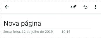Mudar o nome da página no OneNote para Android