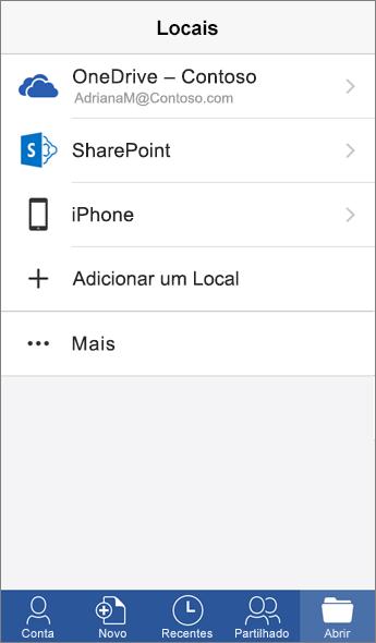 Captura de ecrã a mostrar o ecrã Locais na aplicação Word para dispositivos móveis.