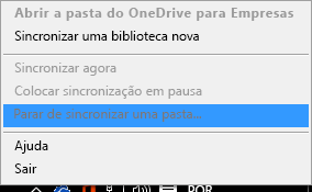 Captura de ecrã a mostrar o comando Parar de sincronizar uma pasta ao clicar com o botão direito do rato no cliente de sincronização do OneDrive para Empresas