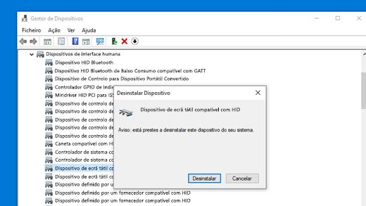 Instalar controlador do ecrã tátil compatível com HID