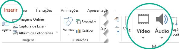 No separador Inserir do friso da barra de ferramentas do PowerPoint, selecione Áudio ou Vídeo