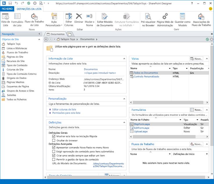 Imagem da página frente do SharePoint Designer 2013.