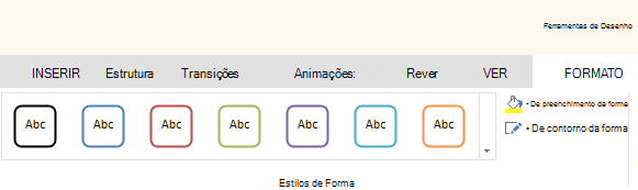 Ferramentas de forma no Office Online