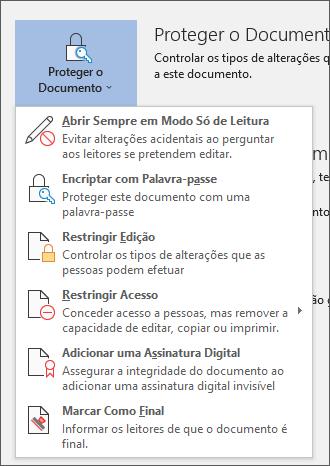 No menu de proteger documento no Word para o Office 365