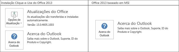 Gráfico que mostra como saber se a instalação do Office 2013 é Clique-e-Use ou baseada em MSI