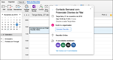 Calendário com reunião selecionada em segundo plano e cartão de eventos em primeiro plano