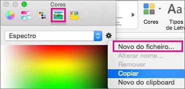 Escolha o ícone de imagem para selecionar uma cor a partir de um ficheiro
