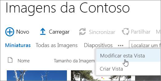 Barra de vista de biblioteca de imagens com modificar vista seleccionada