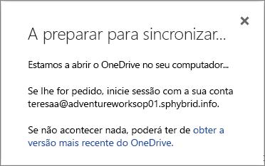 Captura de ecrã da caixa de diálogo A preparar para sincronizar ao configurar a sincronização do OneDrive para Empresas