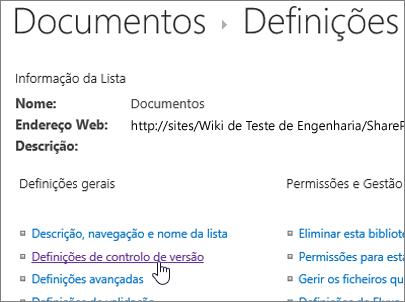 Diálogo de definições da biblioteca com o controlo de versões seleccionado.