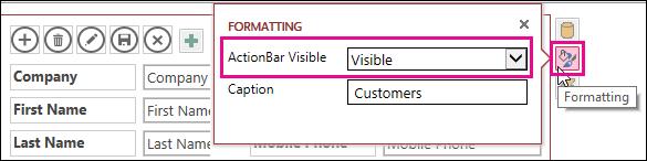 Propriedade Barra de Ação Visível no menu Formatação