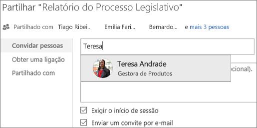 Captura de ecrã da partilha de um ficheiro no OneDrive para Empresas