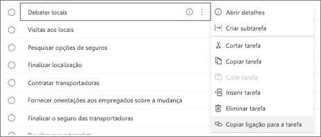 Caixa de diálogo com a lista de tarefas. O botão Copiar ligação para tarefa realçado.