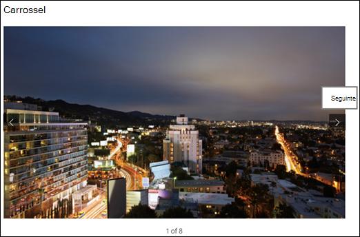 Vista da galeria de imagens Web Part Gallery