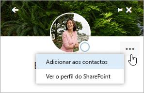 Uma captura de ecrã a mostrar o rato a pairar sobre a opção Adicionar aos contactos, no menu Mais ações.