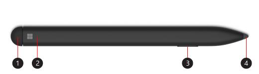 Imagem da Surface Slim Pen com itens assinalados.