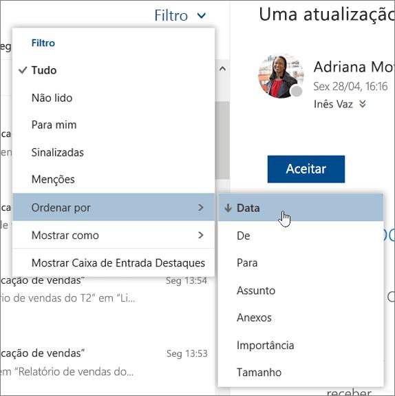 Uma captura de ecrã a mostrar o menu Filtrar com a opção Ordenar por selecionada