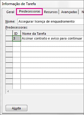 A caixa Informação de Tarefa, com o separador Antecessoras visível.