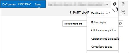 Botão de definições do SharePoint 2013 com menu pendente