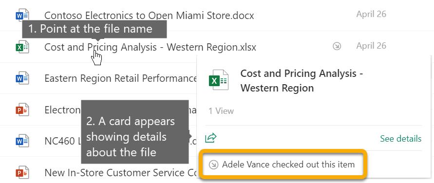 Aponte para o nome do ficheiro para ver mais detalhes, como quem deu saída do ficheiro neste momento.