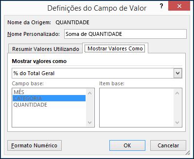 Caixa de diálogo Definições do Campo Valor da Tabela Dinâmica > Mostrar Valores Como