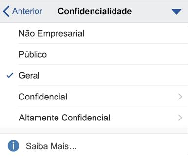 Menu de confidencialidade IOS com rótulos de confidencialidade apresentados