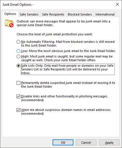 Opções de E-mail de Lixo