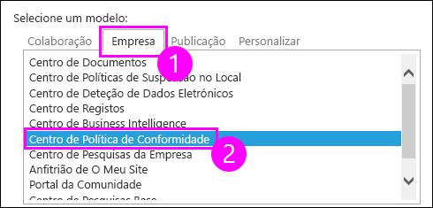 Modelos de coleção de sites no separador Enterprise