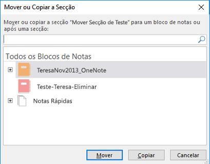 Caixa de diálogo Mover ou Copiar Secção do OneNote para Windows 2016