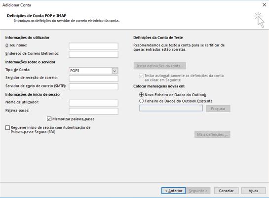 Introduza as suas informações de servidor POP ou IMAP