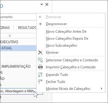 Opções do menu é apresentado quando clica com o botão direito do rato no Painel de navegação
