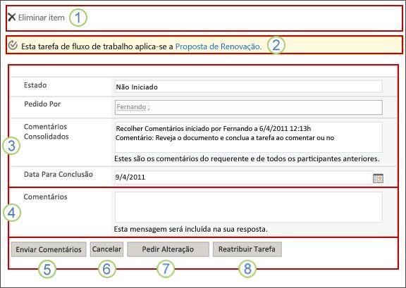 Formulário de tarefa Recolher Comentários com campos realçados