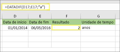 """=DATAIF (D17,E17"""") e resultado: 2"""