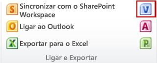O botão Criar Diagrama do Visio no grupo Ligar e Exportar no separador Lista