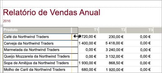 Fragmento de ecrã de Produto do Relatório de Vendas Anual