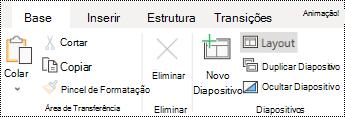 Botão esquema no separador base no PowerPoint online.