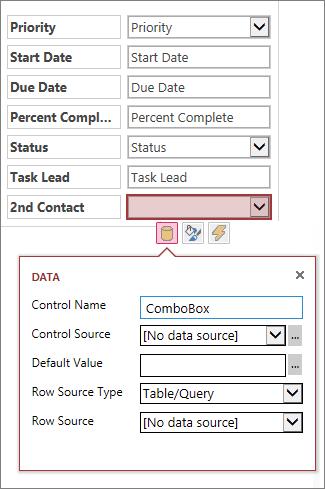 Estado inicial da caixa de propriedades de um controlo de lista de combinação