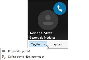 Captura de ecrã de uma notificação de chamada com o menu Opções aberto.