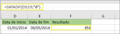 """=DATEDIF (D9,E9""""d"""") com resultado de 856"""