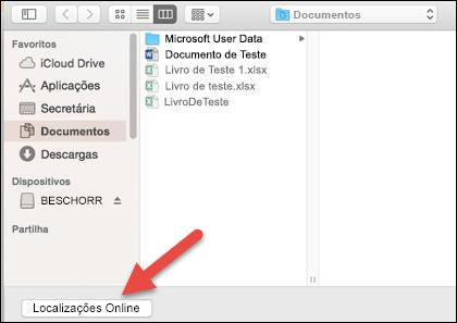 """A opção Abrir do menu Ficheiro a apresentar a vista """"No meu Mac""""."""