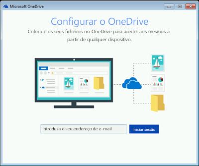 Captura de ecrã do primeiro ecrã da configuração do OneDrive no Windows 7
