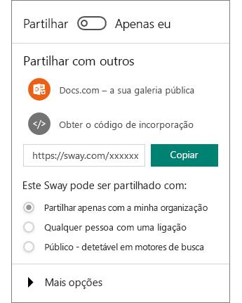 Captura de ecrã do painel Partilhar do Sway.
