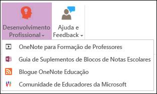 Captura de ecrã dos botões disponíveis no separador de desenvolvimento Professional