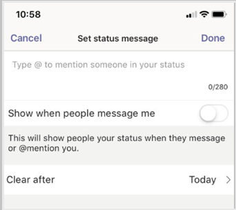 Desacione o estado da mensagem e selecione Feito.