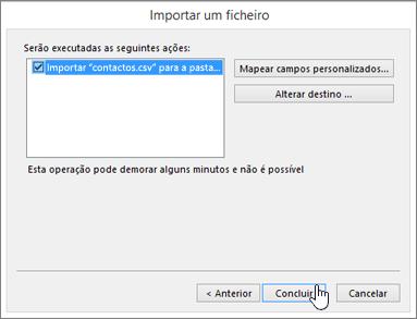 Ao importar os contactos do Gmail para a sua caixa de correio do Office 365, clique no botão Concluir para iniciar a migração
