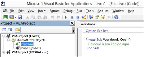 Módulo de EsteLivro no Visual Basic Editor (VBE)